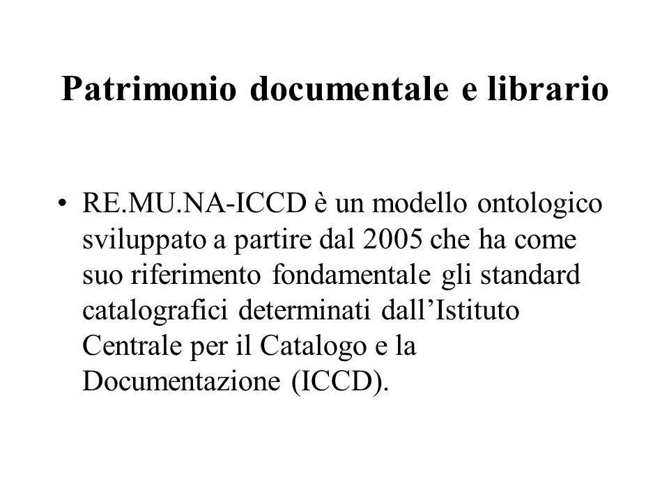 Patrimonio documentale e librario RE.MU.NA-ICCD è un modello ontologico sviluppato a partire dal 2005 che ha come suo riferimento fondamentale gli standard catalografici determinati dall'Istituto Centrale per il Catalogo e la Documentazione (ICCD).