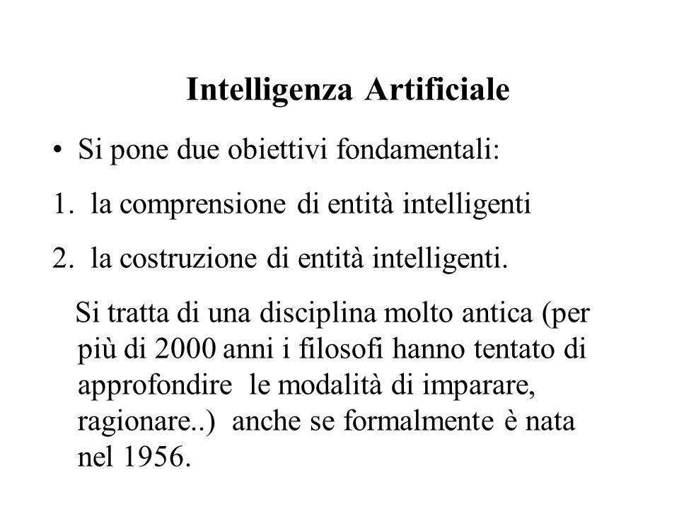 Intelligenza Artificiale Si pone due obiettivi fondamentali: 1.la comprensione di entità intelligenti 2.la costruzione di entità intelligenti.