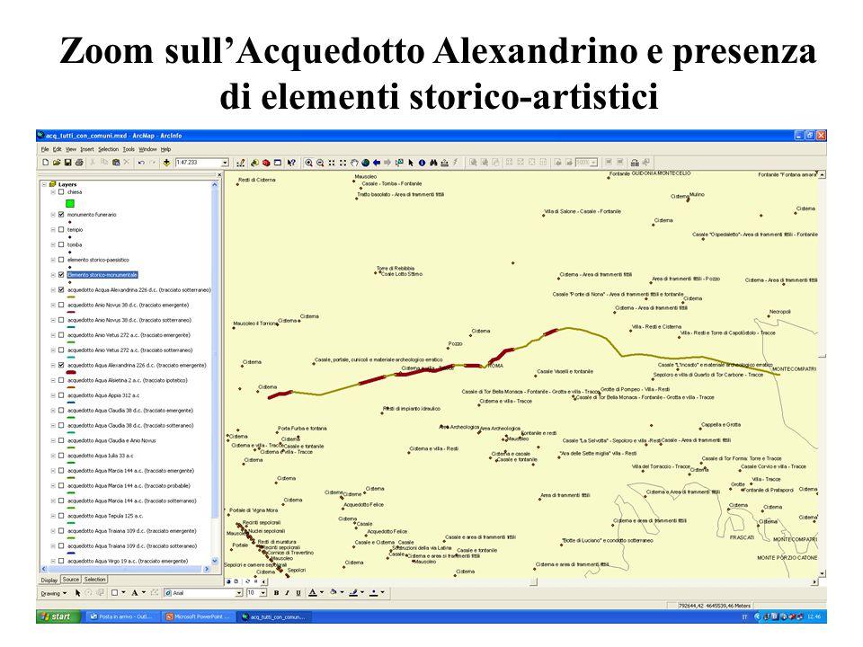 Zoom sull'Acquedotto Alexandrino e presenza di elementi storico-artistici