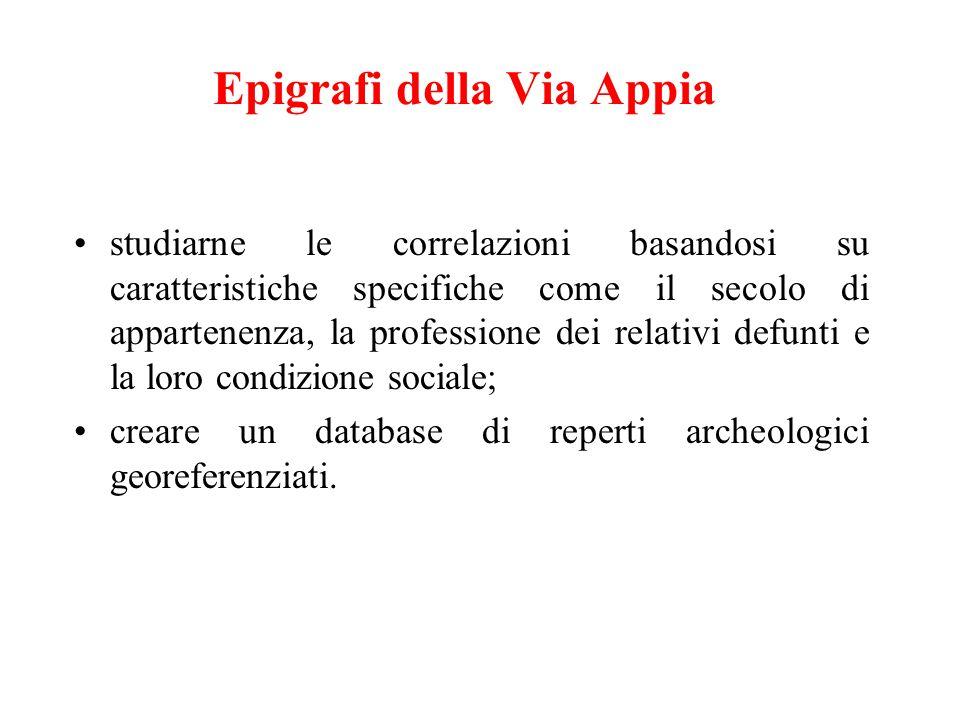 Epigrafi della Via Appia studiarne le correlazioni basandosi su caratteristiche specifiche come il secolo di appartenenza, la professione dei relativi defunti e la loro condizione sociale; creare un database di reperti archeologici georeferenziati.