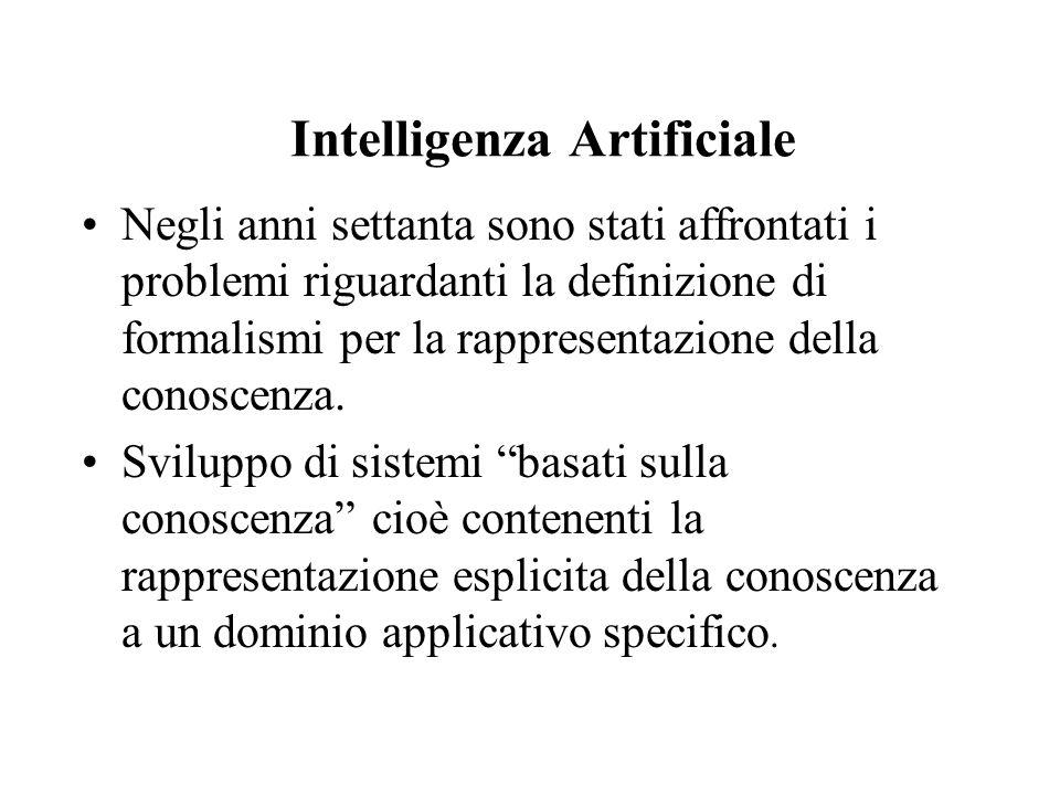 Intelligenza Artificiale Negli anni settanta sono stati affrontati i problemi riguardanti la definizione di formalismi per la rappresentazione della conoscenza.