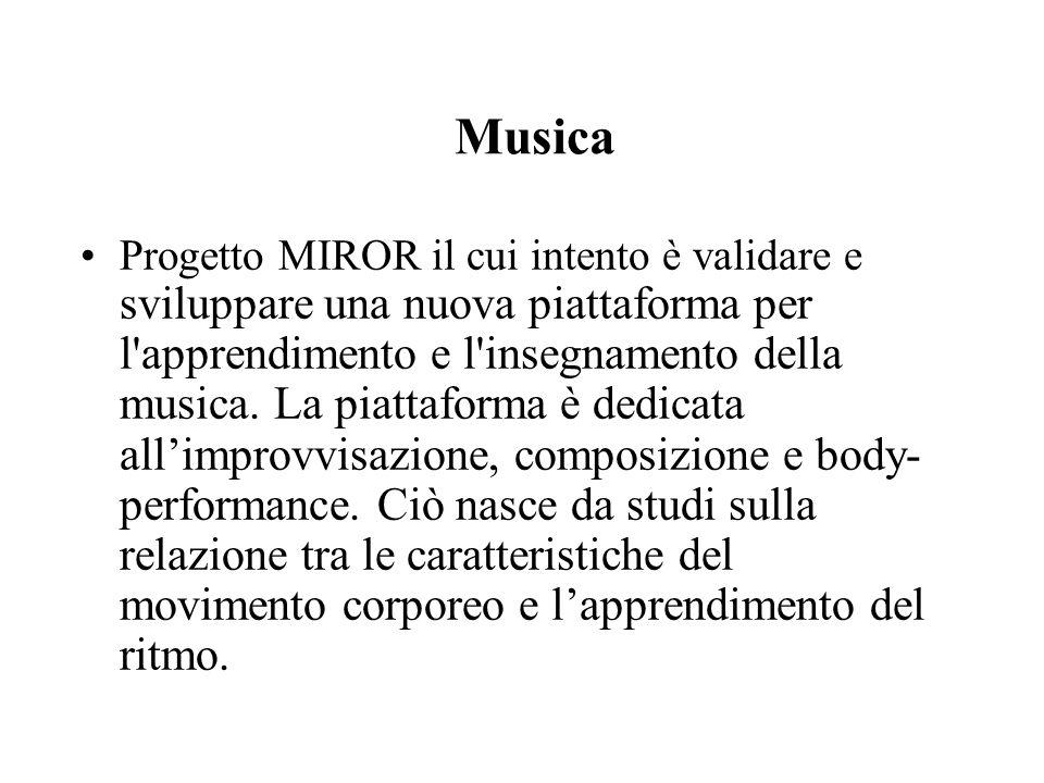Musica Progetto MIROR il cui intento è validare e sviluppare una nuova piattaforma per l apprendimento e l insegnamento della musica.