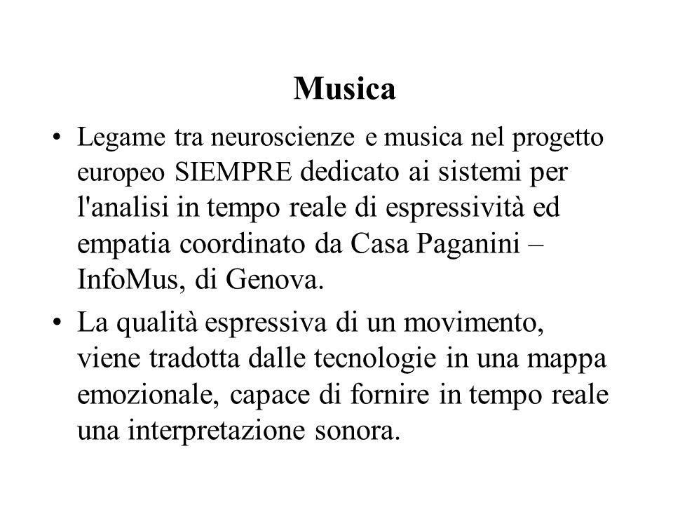 Musica Legame tra neuroscienze e musica nel progetto europeo SIEMPRE dedicato ai sistemi per l analisi in tempo reale di espressività ed empatia coordinato da Casa Paganini – InfoMus, di Genova.
