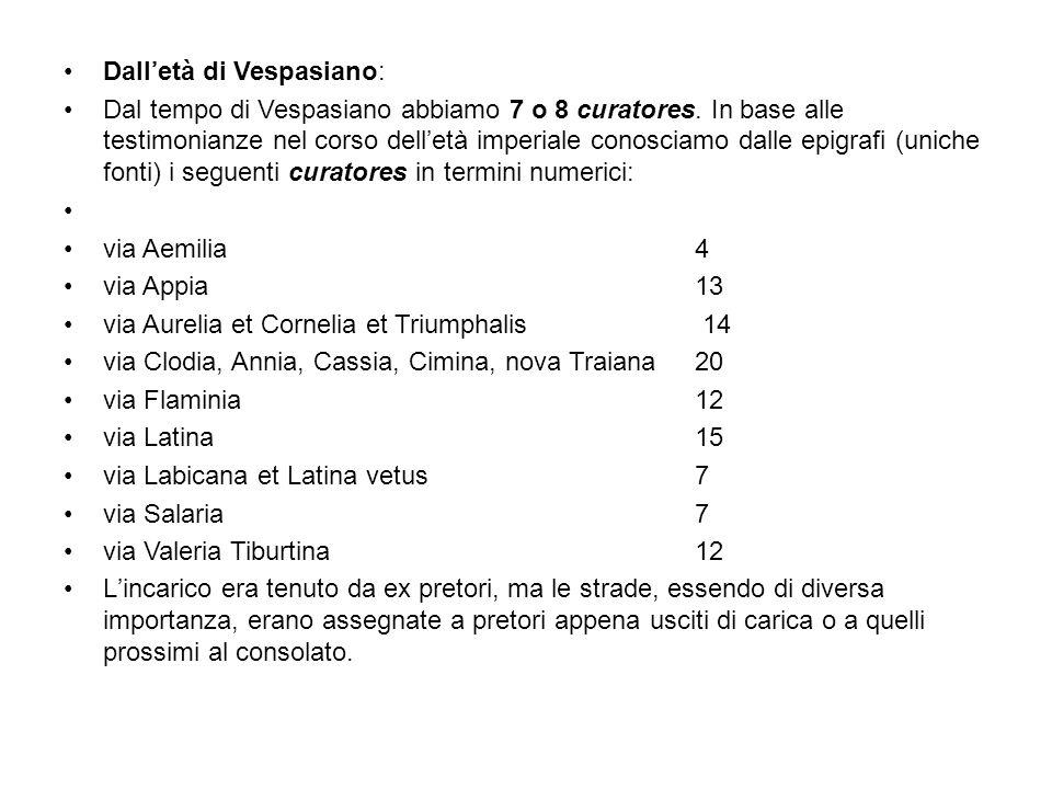 Dall'età di Vespasiano: Dal tempo di Vespasiano abbiamo 7 o 8 curatores.