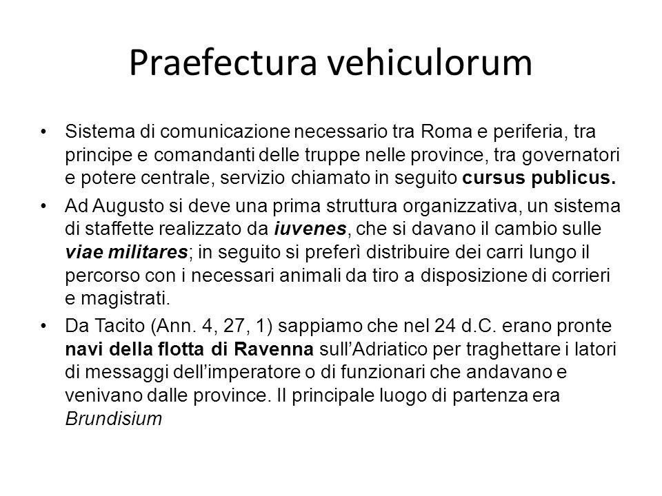 Praefectura vehiculorum Sistema di comunicazione necessario tra Roma e periferia, tra principe e comandanti delle truppe nelle province, tra governatori e potere centrale, servizio chiamato in seguito cursus publicus.
