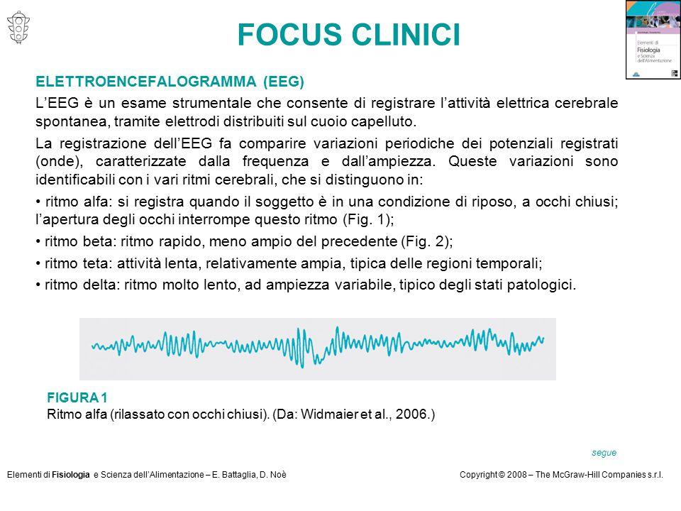 Elementi di Fisiologia e Scienza dell'Alimentazione – E. Battaglia, D. NoèCopyright © 2008 – The McGraw-Hill Companies s.r.l. FOCUS CLINICI ELETTROENC