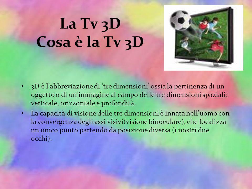La Tv 3D Cosa è la Tv 3D 3D è l'abbreviazione di 'tre dimensioni' ossia la pertinenza di un oggetto o di un'immagine al campo delle tre dimensioni spaziali: verticale, orizzontale e profondità.