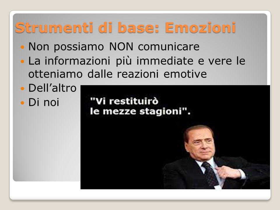 Strumenti di base: Emozioni Non possiamo NON comunicare La informazioni più immediate e vere le otteniamo dalle reazioni emotive Dell'altro Di noi