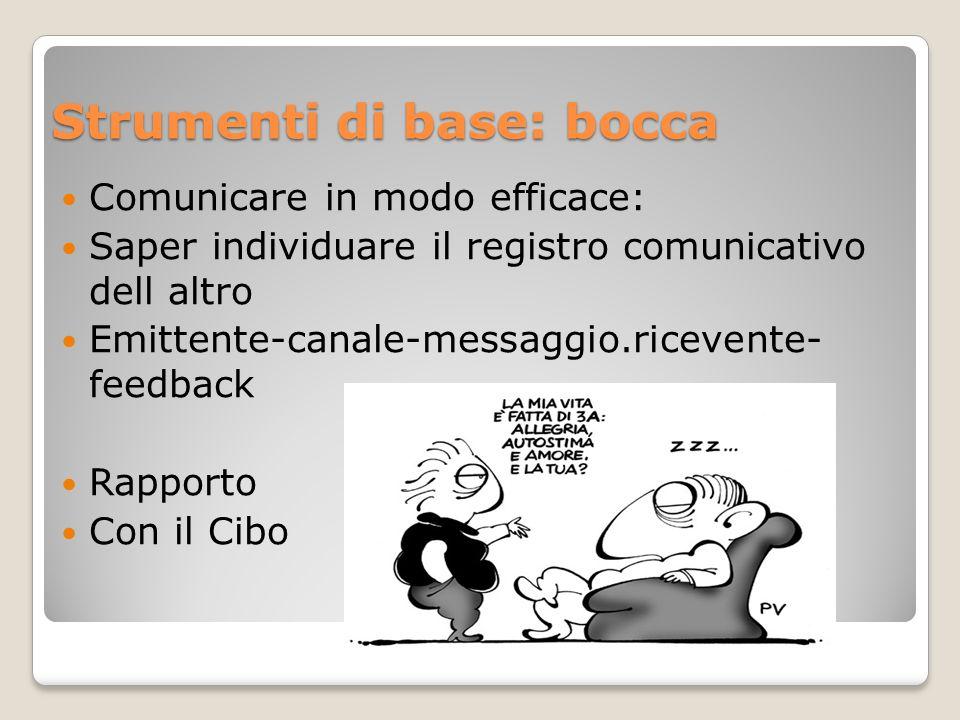 Strumenti di base: bocca Comunicare in modo efficace: Saper individuare il registro comunicativo dell altro Emittente-canale-messaggio.ricevente- feed