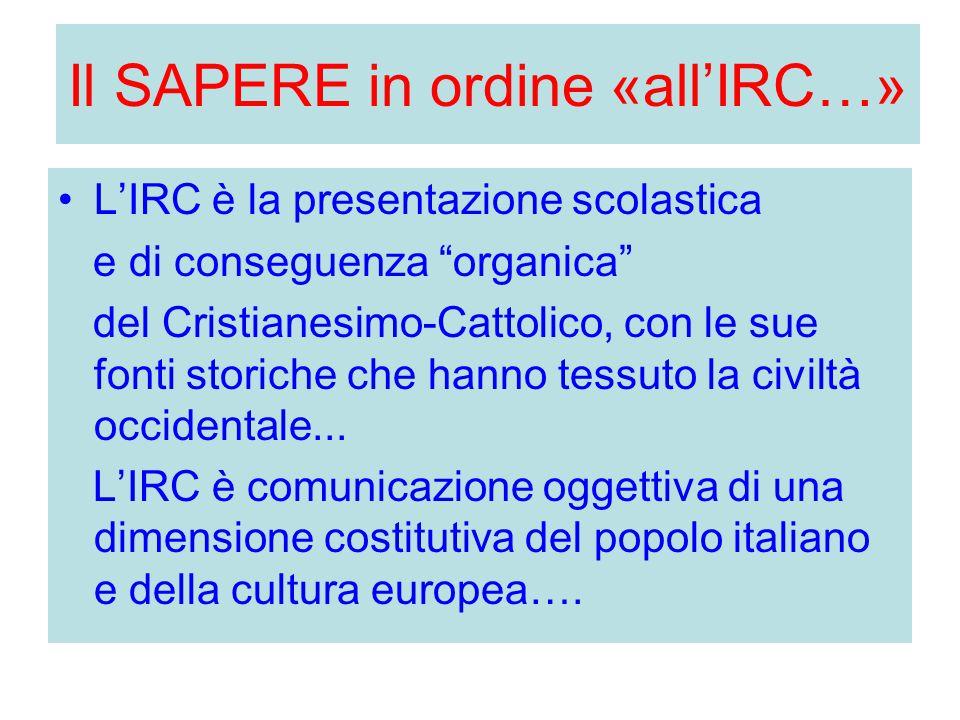 """Il SAPERE in ordine «all'IRC…» L'IRC è la presentazione scolastica e di conseguenza """"organica"""" del Cristianesimo-Cattolico, con le sue fonti storiche"""