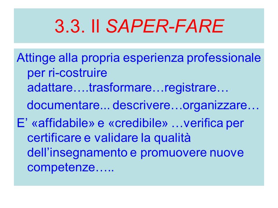 3.3. Il SAPER-FARE Attinge alla propria esperienza professionale per ri-costruire adattare….trasformare…registrare… documentare... descrivere…organizz