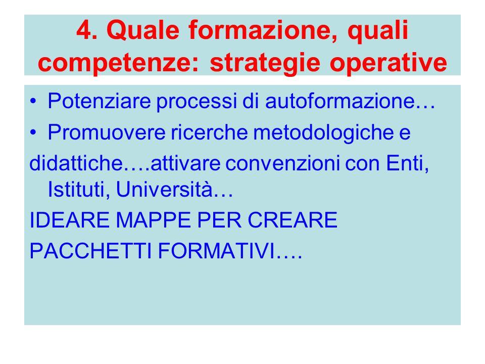 4. Quale formazione, quali competenze: strategie operative Potenziare processi di autoformazione… Promuovere ricerche metodologiche e didattiche….atti