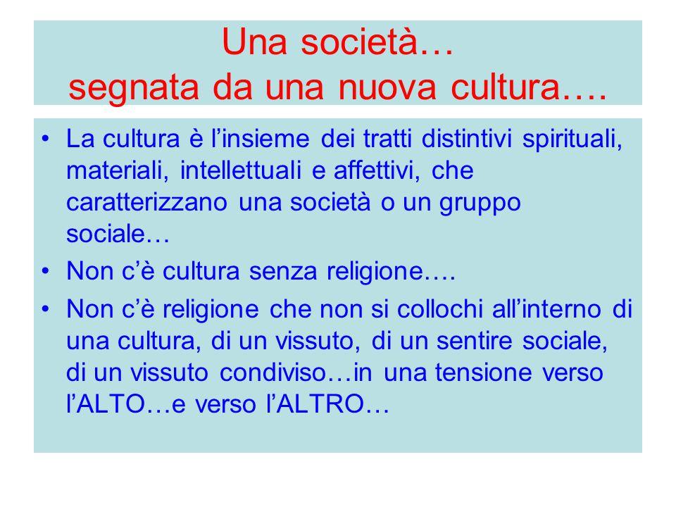 Una società… segnata da una nuova cultura…. La cultura è l'insieme dei tratti distintivi spirituali, materiali, intellettuali e affettivi, che caratte