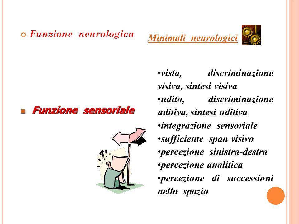 Funzione neurologica Minimali neurologici vista, discriminazione visiva, sintesi visiva udito, discriminazione uditiva, sintesi uditiva integrazione s