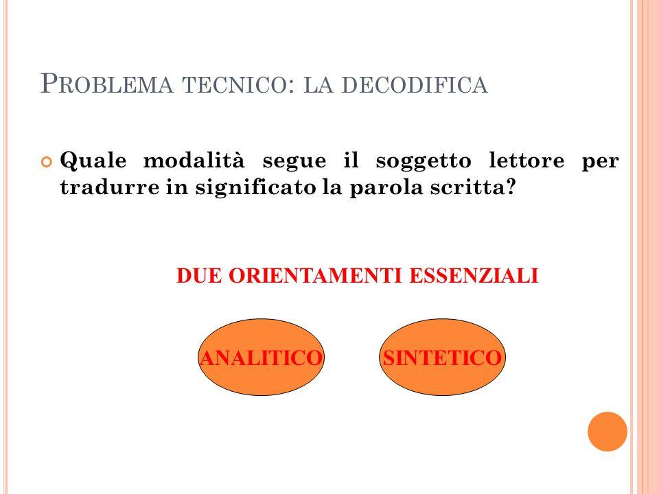 P ROBLEMA TECNICO : LA DECODIFICA Quale modalità segue il soggetto lettore per tradurre in significato la parola scritta? DUE ORIENTAMENTI ESSENZIALI