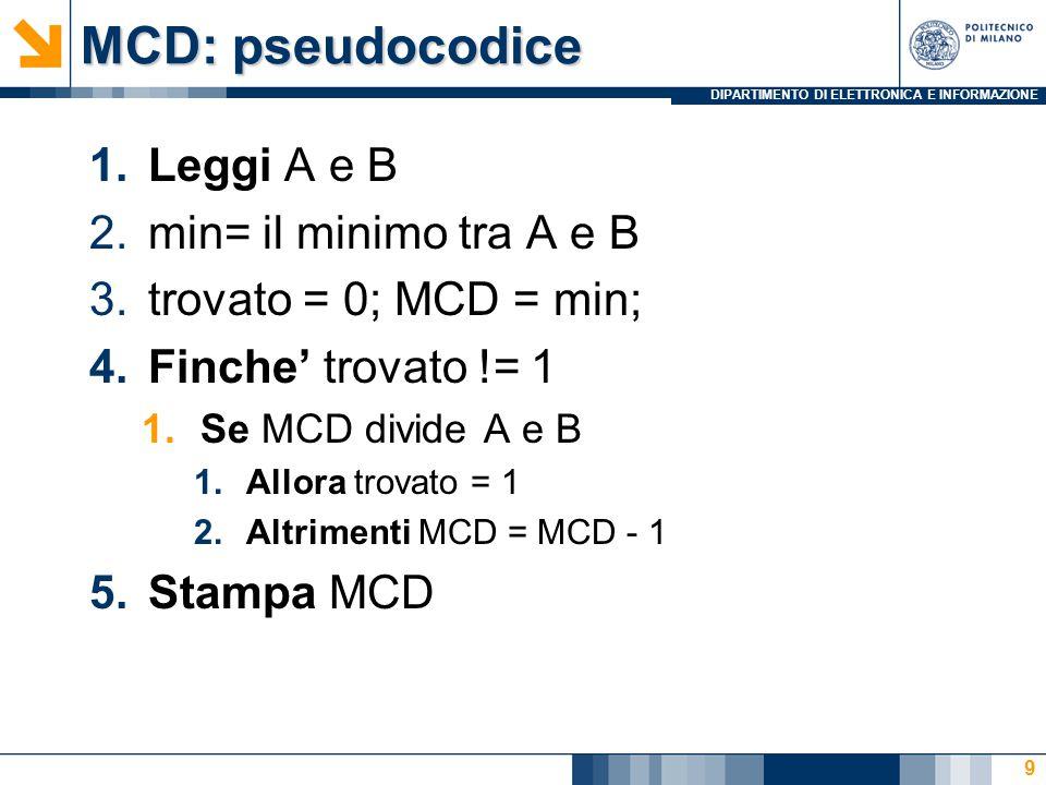 DIPARTIMENTO DI ELETTRONICA E INFORMAZIONE MCD: pseudocodice 1.Leggi A e B 2.min= il minimo tra A e B 3.trovato = 0; MCD = min; 4.Finche' trovato != 1 1.Se MCD divide A e B 1.Allora trovato = 1 2.Altrimenti MCD = MCD - 1 5.Stampa MCD 9
