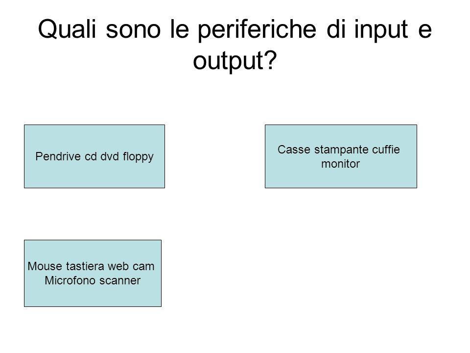 Quali sono le periferiche di input e output.