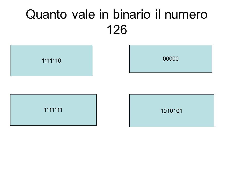 Quanto vale in binario il numero 126 1111110 1111111 1010101 00000