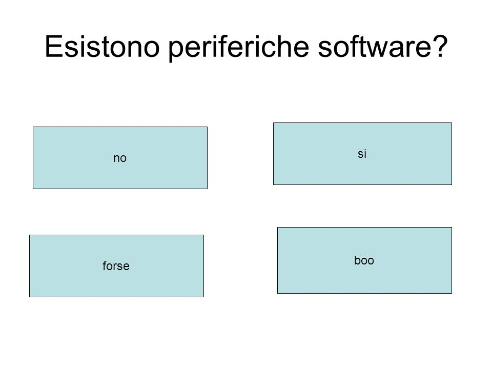Esistono periferiche software no si forse boo