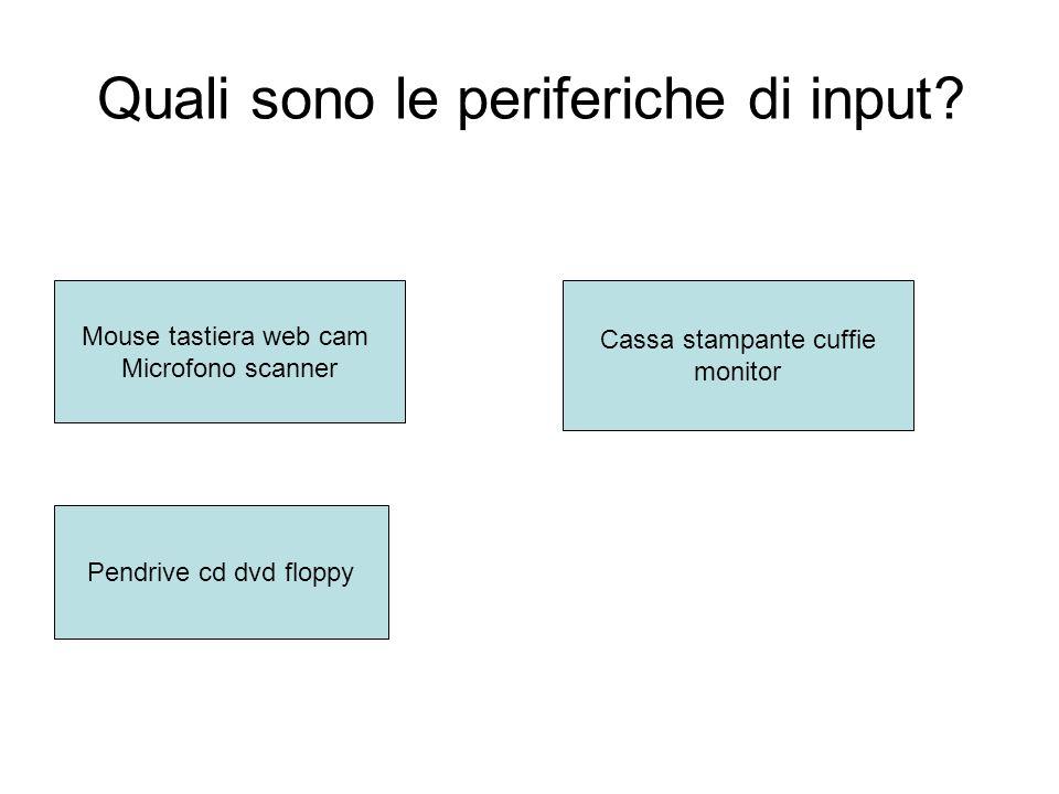 Quali sono le periferiche di input.