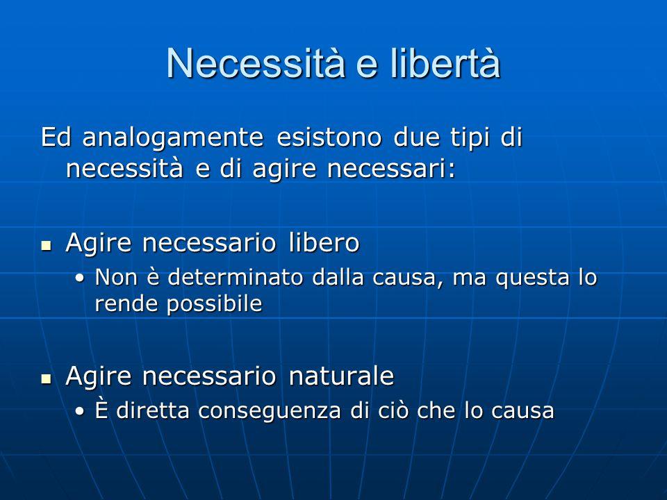 Necessità e libertà Ed analogamente esistono due tipi di necessità e di agire necessari: Agire necessario libero Agire necessario libero Non è determi