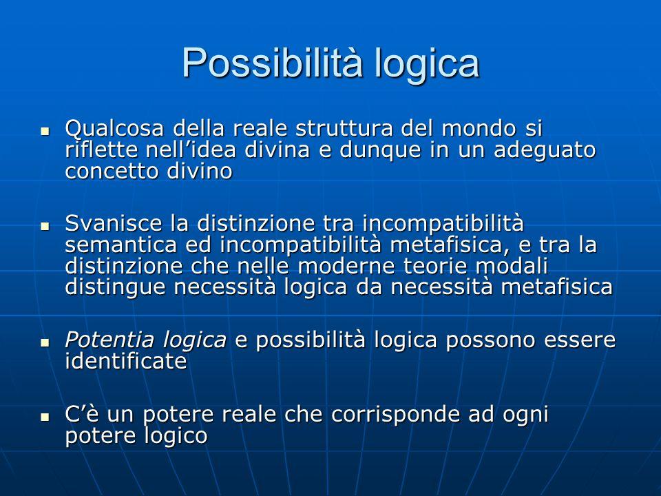 Possibilità logica Qualcosa della reale struttura del mondo si riflette nell'idea divina e dunque in un adeguato concetto divino Qualcosa della reale