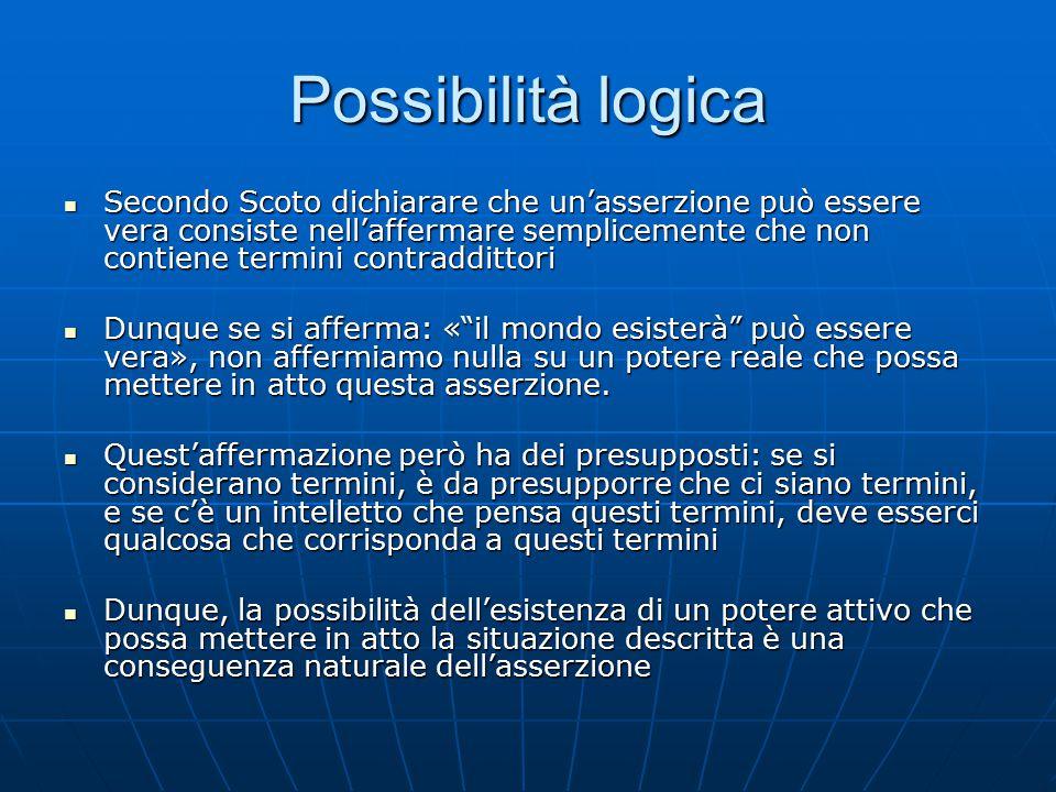 Possibilità logica Secondo Scoto dichiarare che un'asserzione può essere vera consiste nell'affermare semplicemente che non contiene termini contraddi