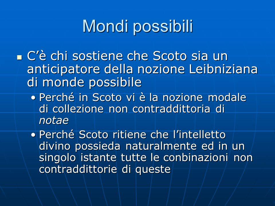 Mondi possibili C'è chi sostiene che Scoto sia un anticipatore della nozione Leibniziana di monde possibile C'è chi sostiene che Scoto sia un anticipa