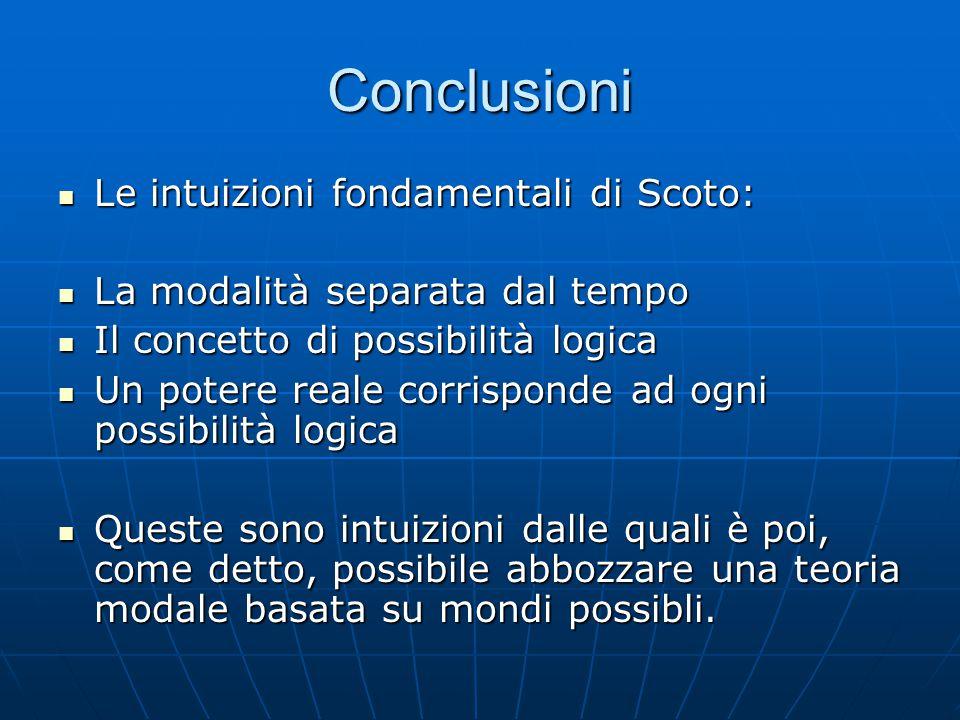 Conclusioni Le intuizioni fondamentali di Scoto: Le intuizioni fondamentali di Scoto: La modalità separata dal tempo La modalità separata dal tempo Il