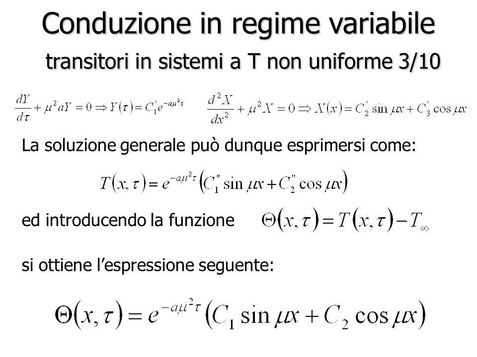 Conduzione in regime variabile transitori in sistemi a T non uniforme 3/10 La soluzione generale può dunque esprimersi come: ed introducendo la funzio