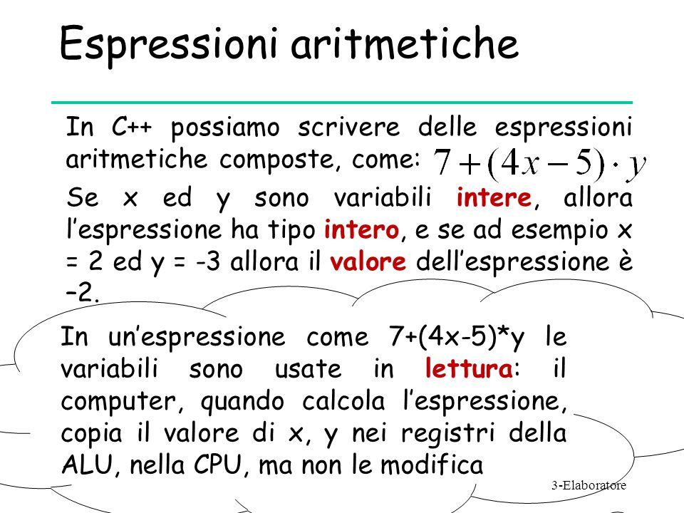 Espressioni aritmetiche In C++ possiamo scrivere delle espressioni aritmetiche composte, come: Se x ed y sono variabili intere, allora l'espressione h