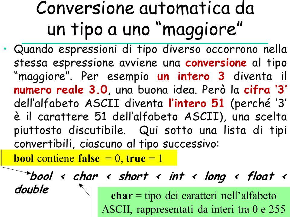 """Conversione automatica da un tipo a uno """"maggiore"""" Quando espressioni di tipo diverso occorrono nella stessa espressione avviene una conversione al ti"""