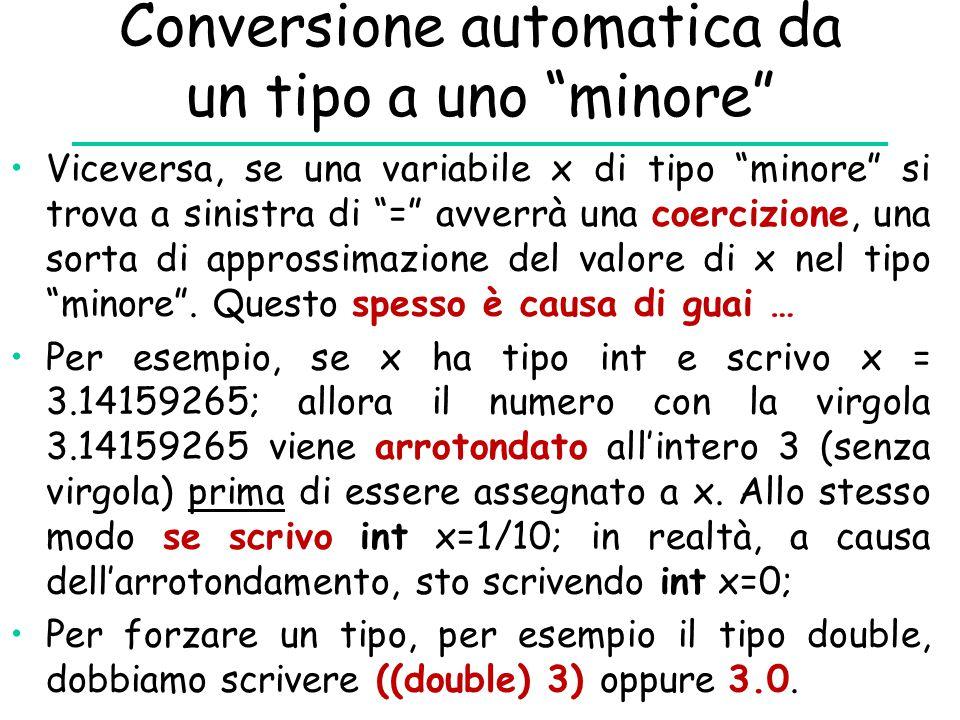 """Conversione automatica da un tipo a uno """"minore"""" Viceversa, se una variabile x di tipo """"minore"""" si trova a sinistra di """"="""" avverrà una coercizione, un"""