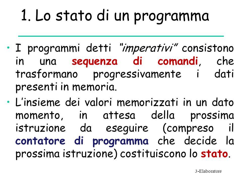 """1. Lo stato di un programma I programmi detti """"imperativi"""" consistono in una sequenza di comandi, che trasformano progressivamente i dati presenti in"""