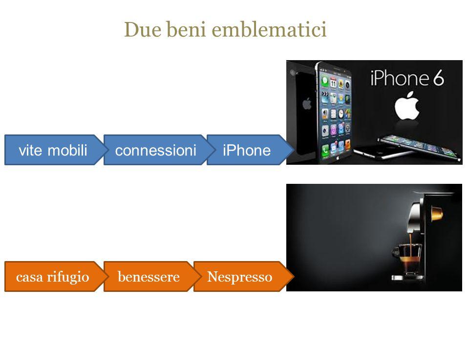 Due beni emblematici iPhoneconnessionivite mobili Nespressobenesserecasa rifugio