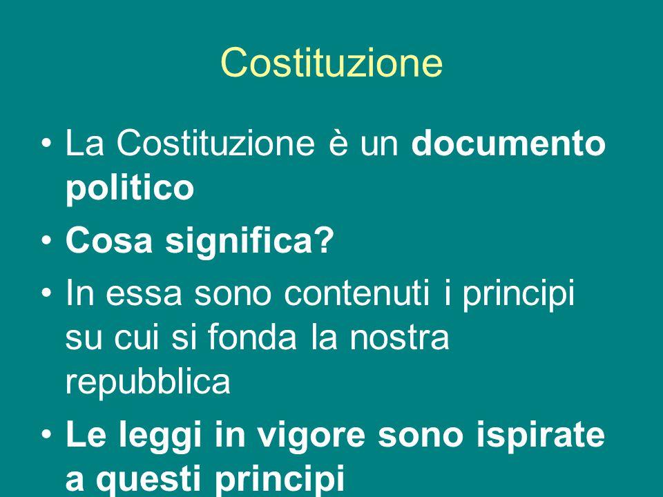 Costituzione La Costituzione è un documento politico Cosa significa.