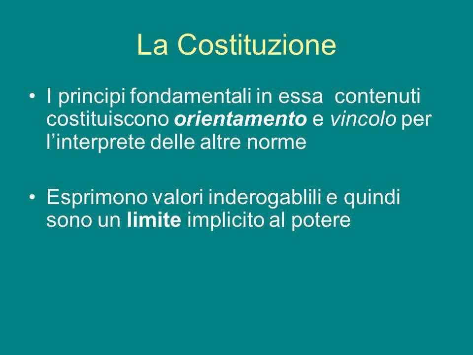 La Costituzione I principi fondamentali in essa contenuti costituiscono orientamento e vincolo per l'interprete delle altre norme Esprimono valori inderogablili e quindi sono un limite implicito al potere