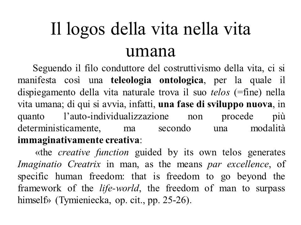 Il logos della vita nella vita umana Seguendo il filo conduttore del costruttivismo della vita, ci si manifesta così una teleologia ontologica, per la