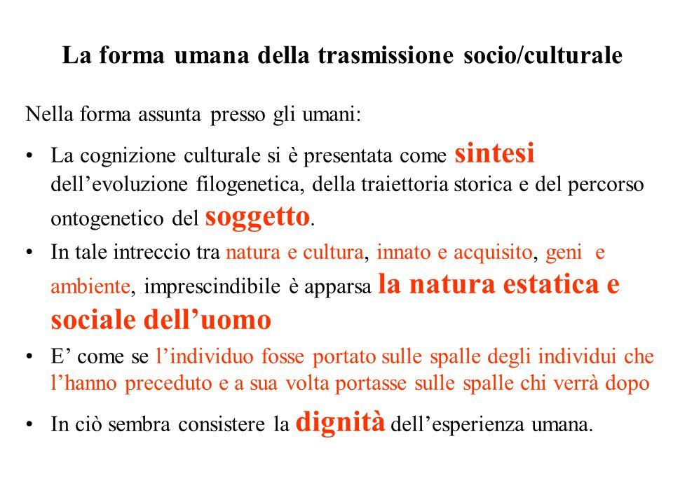 La forma umana della trasmissione socio/culturale Nella forma assunta presso gli umani: La cognizione culturale si è presentata come sintesi dell'evoluzione filogenetica, della traiettoria storica e del percorso ontogenetico del soggetto.