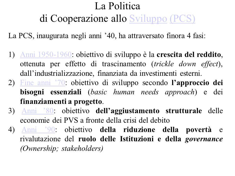 La Politica di Cooperazione allo Sviluppo (PCS)Sviluppo(PCS) La PCS, inaugurata negli anni '40, ha attraversato finora 4 fasi: 1)Anni 1950-1960: obiettivo di sviluppo è la crescita del reddito, ottenuta per effetto di trascinamento (trickle down effect), dall'industrializzazione, finanziata da investimenti esterni.Anni 1950-1960 2)Fine anni '70: obiettivo di sviluppo secondo l'approccio dei bisogni essenziali (basic human needs approach) e dei finanziamenti a progetto.Fine anni '70 3) Anni '80: obiettivo dell'aggiustamento strutturale delle economie dei PVS a fronte della crisi del debitoAnni '80 4) Anni '90: obiettivo della riduzione della povertà e rivalutazione del ruolo delle Istituzioni e della governance (Ownership; stakeholders)Anni '90