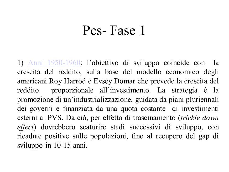 Pcs- Fase 1 1) Anni 1950-1960: l'obiettivo di sviluppo coincide con la crescita del reddito, sulla base del modello economico degli americani Roy Harrod e Evsey Domar che prevede la crescita del reddito proporzionale all'investimento.