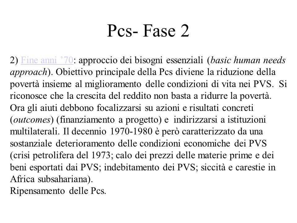 Pcs- Fase 2 2) Fine anni '70: approccio dei bisogni essenziali (basic human needs approach). Obiettivo principale della Pcs diviene la riduzione della