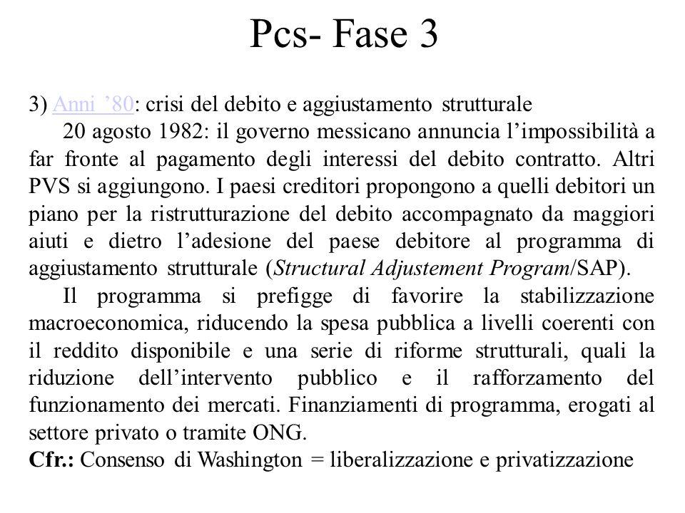Pcs- Fase 3 3) Anni '80: crisi del debito e aggiustamento strutturaleAnni '80 20 agosto 1982: il governo messicano annuncia l'impossibilità a far fron