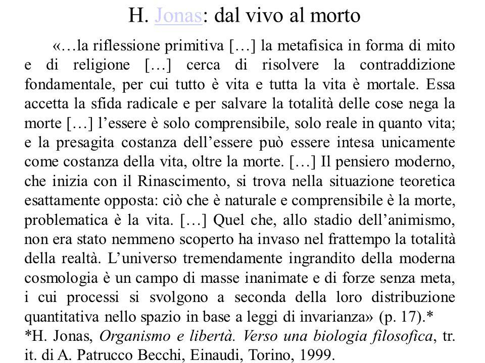 H. Jonas: dal vivo al mortoJonas «…la riflessione primitiva […] la metafisica in forma di mito e di religione […] cerca di risolvere la contraddizione