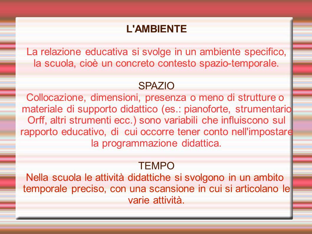 L'AMBIENTE La relazione educativa si svolge in un ambiente specifico, la scuola, cioè un concreto contesto spazio-temporale. SPAZIO Collocazione, dime