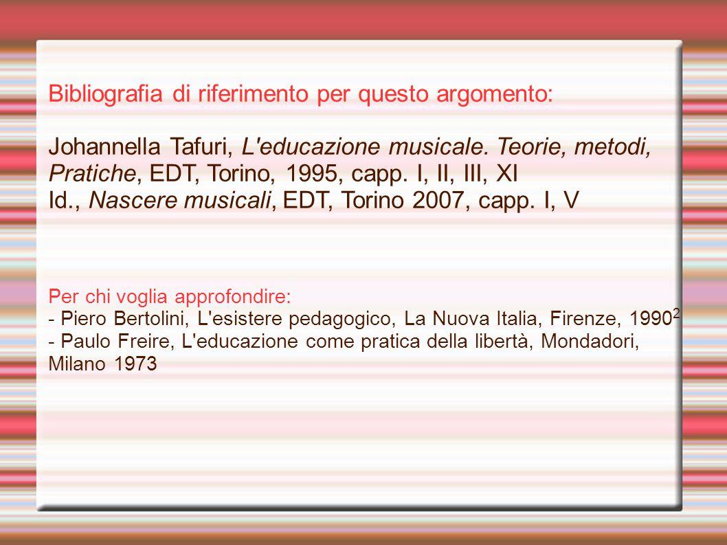 Bibliografia di riferimento per questo argomento: Johannella Tafuri, L educazione musicale.