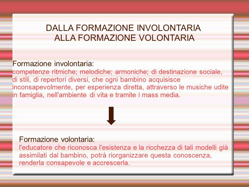DALLA FORMAZIONE INVOLONTARIA ALLA FORMAZIONE VOLONTARIA Formazione involontaria: competenze ritmiche; melodiche; armoniche; di destinazione sociale,