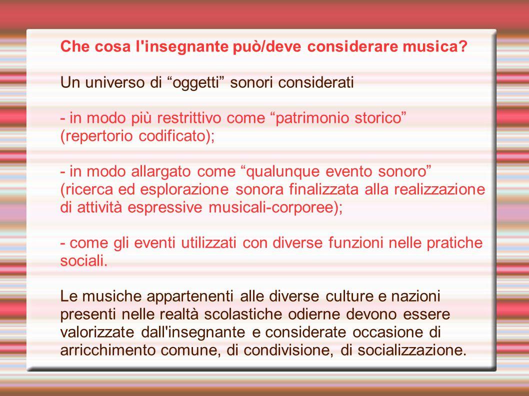 """Che cosa l'insegnante può/deve considerare musica? Un universo di """"oggetti"""" sonori considerati - in modo più restrittivo come """"patrimonio storico"""" (re"""