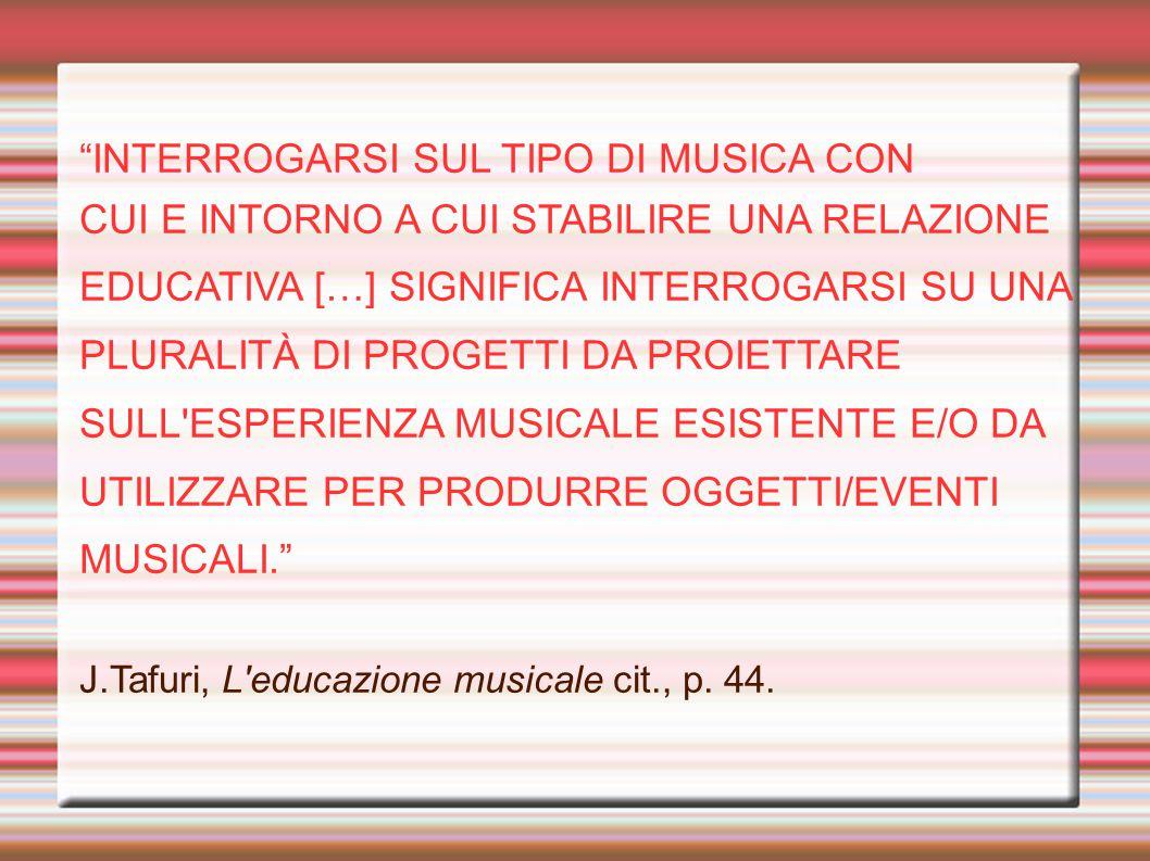 INTERROGARSI SUL TIPO DI MUSICA CON CUI E INTORNO A CUI STABILIRE UNA RELAZIONE EDUCATIVA […] SIGNIFICA INTERROGARSI SU UNA PLURALITÀ DI PROGETTI DA PROIETTARE SULL ESPERIENZA MUSICALE ESISTENTE E/O DA UTILIZZARE PER PRODURRE OGGETTI/EVENTI MUSICALI. J.Tafuri, L educazione musicale cit., p.