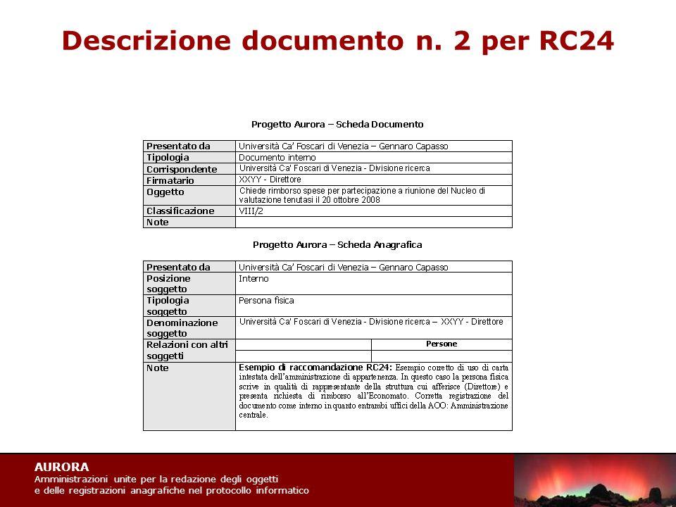 AURORA Amministrazioni unite per la redazione degli oggetti e delle registrazioni anagrafiche nel protocollo informatico Descrizione documento n.